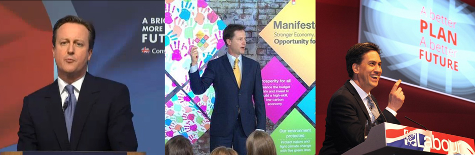 Image. Manifesto launches 2015, Cameron (©Evening Standard) , Clegg (©Getty) and Ed Miliband (© Andalou agency via Getty)
